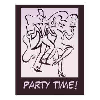 Retro jazz age line art deco couple dancing party postcard