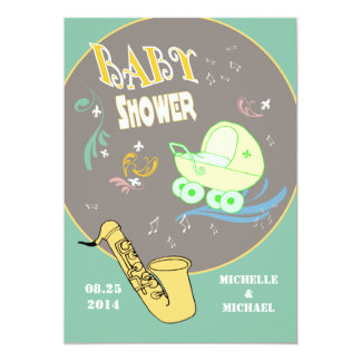 Retro Jazz Couples Baby Shower Card