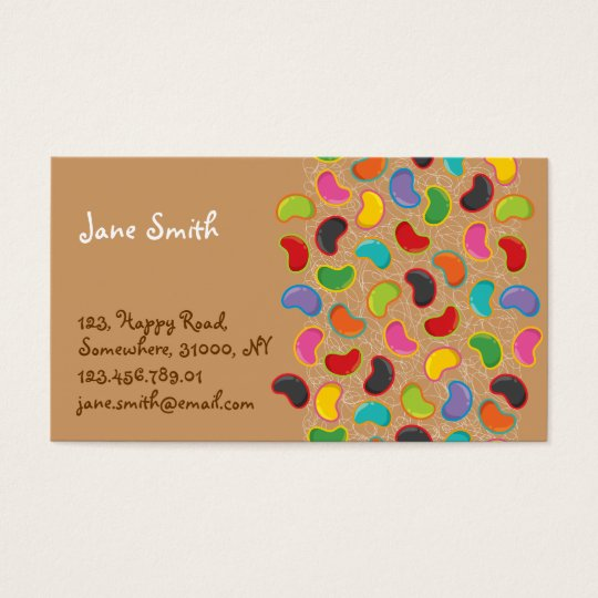 Retro Jellybean Pop Pattern Candy Sweets Cute Fun Business Card