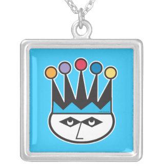 retro jester joker design square pendant necklace