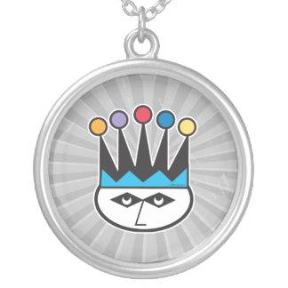 retro jester joker design round pendant necklace