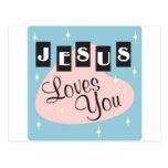 Retro - Jesús le ama Postales