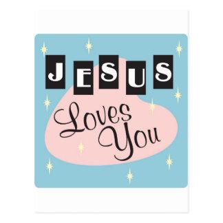 Retro - Jesús le ama Tarjetas Postales