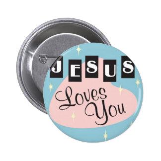 Retro - Jesus loves you 2 Inch Round Button