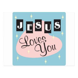 Retro - Jesus loves you Postcard