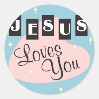 Retro - Jesus loves you Classic Round Sticker