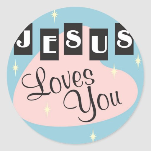 Retro - Jesus loves you Sticker