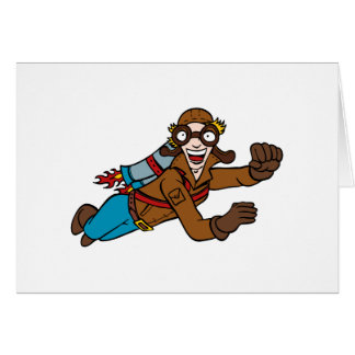 Retro Jet Pack Man Flying Cartoon Character Card