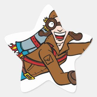 Retro Jet Pack Man Flying Cartoon Character Star Sticker