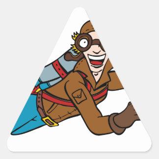 Retro Jet Pack Man Flying Cartoon Character Triangle Sticker