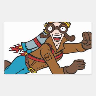 Retro Jet Pack Man Flying Cartoon Character Rectangular Sticker