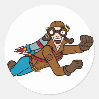 Retro Jet Pack Man Flying Cartoon Character Classic Round Sticker