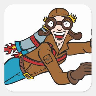 Retro Jet Pack Man Flying Cartoon Character Square Sticker