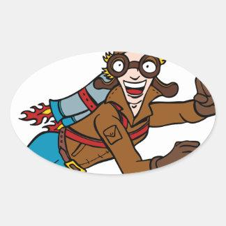Retro Jet Pack Man Flying Cartoon Character Oval Sticker