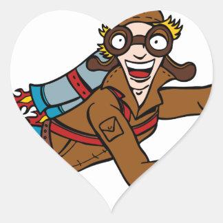 Retro Jet Pack Man Flying Cartoon Character Heart Sticker