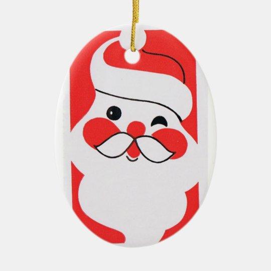 Retro Jolly Santa Claus Ceramic Ornament