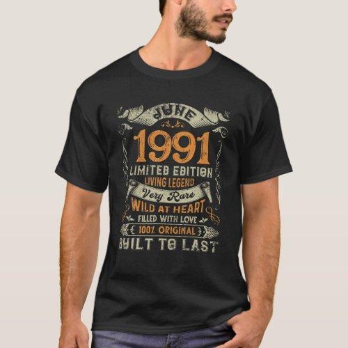 Retro June 1991 Vintage 30Th Bday Decorations 30 Y T_Shirt