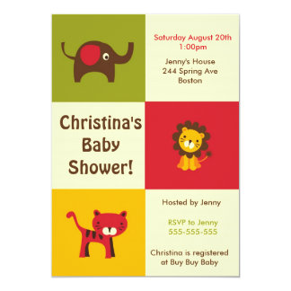 Retro Jungle Baby Shower Invitation