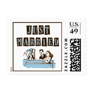 Retro Just Married Postage Stamps