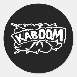 Retro KABOOM! Blast - Black & White Classic Round Sticker