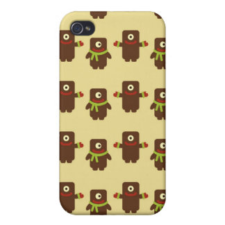 Retro kawaii little monsters cute pattern print 4S Covers For iPhone 4