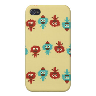 Retro kawaii little monsters cute pattern print cover for iPhone 4