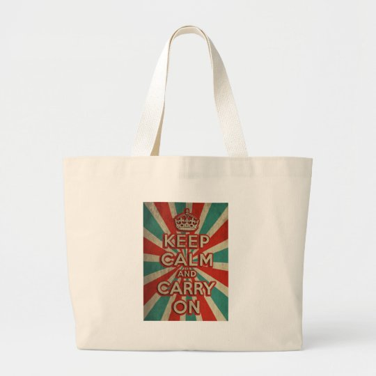 Retro Keep Calm And Carry On Large Tote Bag