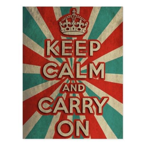 Retro Keep Calm And Carry On Postcard