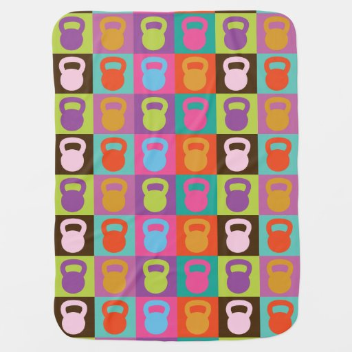 Retro Kettlebell Pattern - Workout And Weight Lift Swaddle Blanket