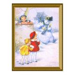 REtro kids and the snowman Postcard