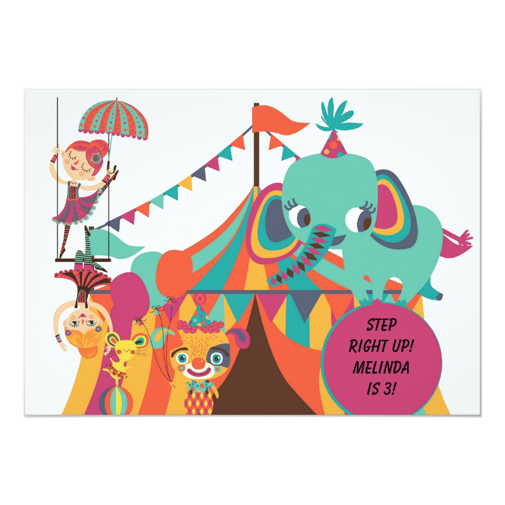 Retro Kids Circus Birthday Invitation