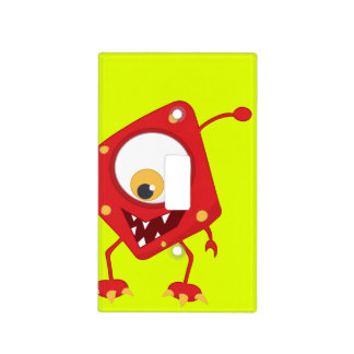 Retro Kids' Colorful Red Monster Switch Plate Covers