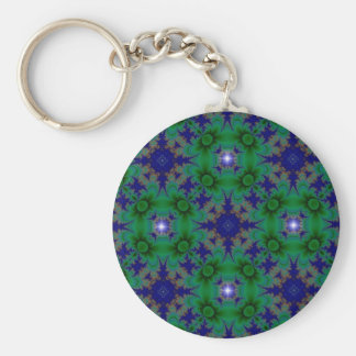 Retro kind Deco in green blue with stars Keychain