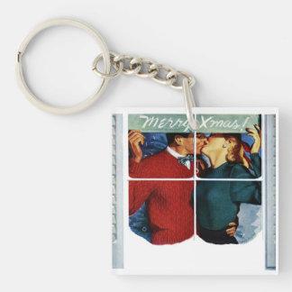 Retro Kissing Christmas Couple Keychain