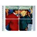 Retro Kissing Christmas Couple Postcard