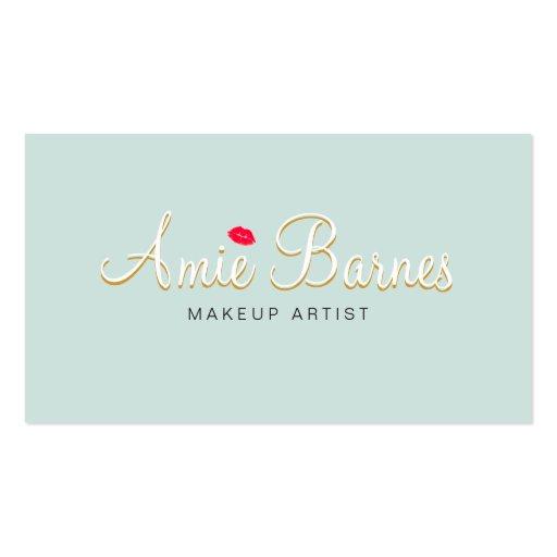 Retro Kissing Lips Makeup Artist Cosmetology Business Card