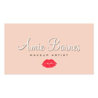 Retro Kissing Lips Makeup Artist Cosmetology Peach Business Card