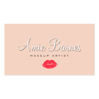 Retro Kissing Lips Makeup Artist Cosmetology Peach Double-Sided Standard Business Cards (Pack Of 100)