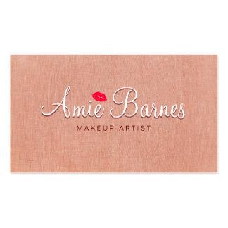 Retro Kissing Lips Makeup Artist Peach Linen Look Business Card