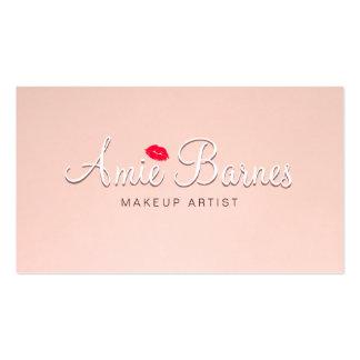 Retro Kissing Lips Makeup Artist Pink Vintage Business Card