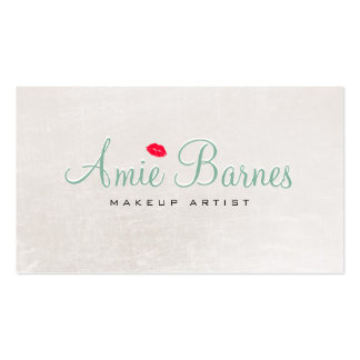 Retro Kissing Lips Makeup Artist Shimmery White Double-Sided Standard Business Cards (Pack Of 100)