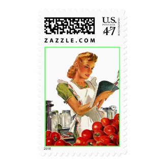 Retro Kitchen Apron Home Canning Postage Stamps