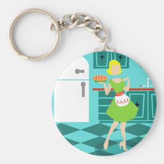 Retro Kitchen Button Keychain
