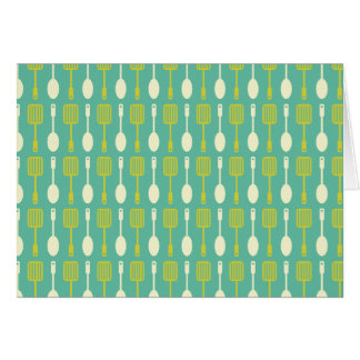 Retro Kitchen Cooking Utensils Pattern Card