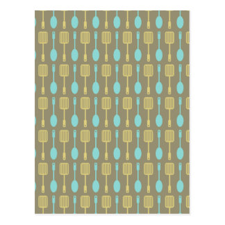 Retro Kitchen Cooking Utensils Pattern Postcard