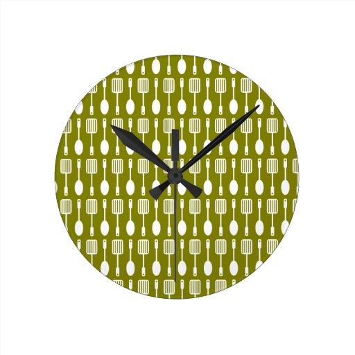 Retro Kitchen Cooking Utensils Pattern Round Clock Zazzle