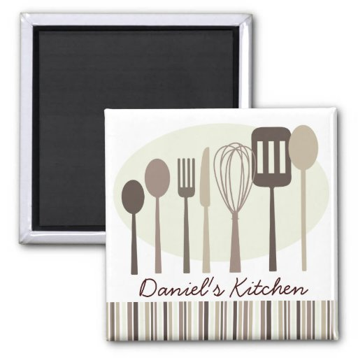 Retro Kitchen Cooking Utensils Personalized Magnet