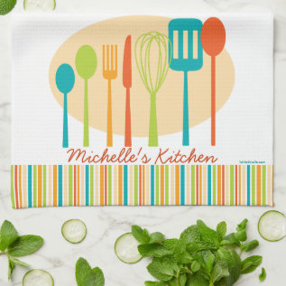 Retro Kitchen Cooking Utensils Personalized Towel at Zazzle