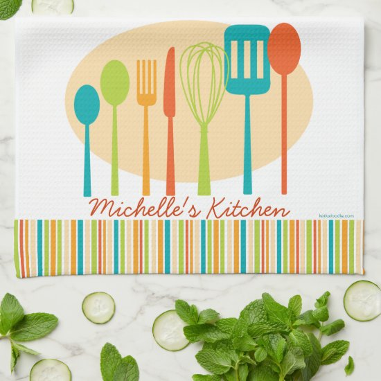 Retro Kitchen Cooking Utensils Personalized Towel