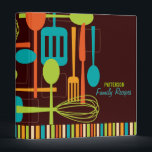 """Retro Kitchen Cooking Utensils Recipe Binder<br><div class=""""desc"""">Retro style implements for cooking and eating are featured on this cool recipe binder in classic shades of brown, teal, lime and orange on a rich dark brown background. Customize the two lines of text on the cover with your family name or message. Include matching blank recipe pages to complete...</div>"""